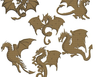 Dragon Set of 6 Laser Cut Chipboard FREE SHIPPING! in US