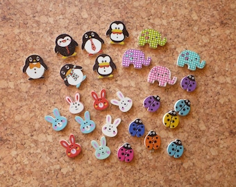 Wooden Animal Buttons Selection FREE SHIPPING