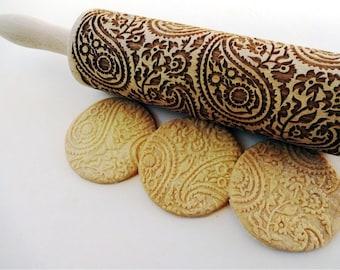 PAISLEY Embossing Rolling Pin. PAISLEY pattern. Engraved rolling pin with paisley for embossed cookies. Pottery
