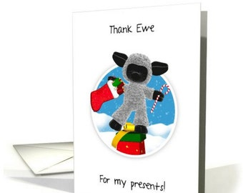 Thank You, Thank Ewe, Christmas Card With Sheep, - Thank Ewe Card For Presents and for doing Christmas