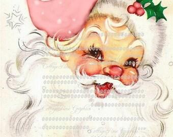 Pink Shabby Retro Santa Large digital download  ECS buy 3 get one free  single image