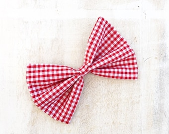 Red and white gingham check plaid Pin up hair bow on clip
