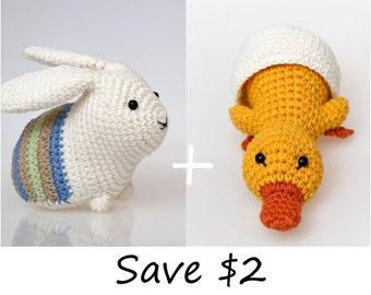 Easter crochet pattern, easter amigurumi pattern, crochet patterns bundle, sale, duckling pattern, bunny pattern