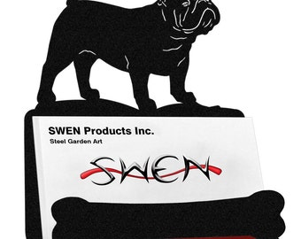 English Bulldog Dog Metal Business Card Holder