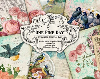 Bedruckbar, Journal-Kit, eines schönen Tages, Junk Journal Kit, Ephemera Pack, Vogel Journal, Frühling Journal, Garten Eintagsfliegen, digitale Papier