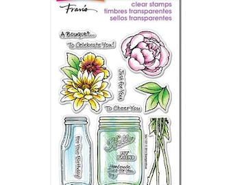 Stampendous BOUQUET FOR YOU Clear acrylic stamp set mason jar with flowers 1 - CS066