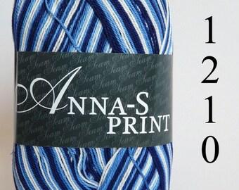 Crochet thread size 10, mercerized cotton, ANNA-S Print, 100g/ 492 yds #1210 variegated shaded blue