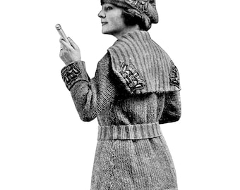 1910s WWI Liberty Sweater Coat and Hat Knitting E-Pattern- PDF Knitting Pattern Download