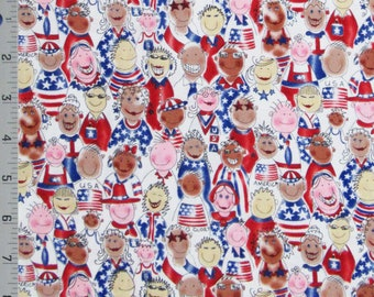 Cotton Quilt Sewing Fabric American USA Flags Red White Blue Patriots By The Half Yard