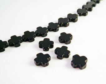 BC50 - Beads black Intercalaires shaped small cross with 10mm X 10 mm style claw all brand