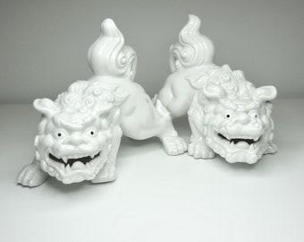 White Porcelain Foo Dogs - Otagiri Japan - OMC - Otagiri Mercantile Company