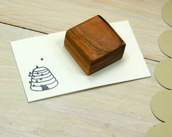 Mini Beehive Olive Wood Stamp