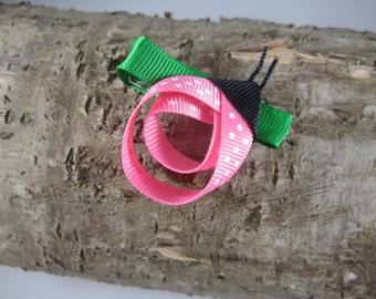 Pink lady bug ribbon art hair clip