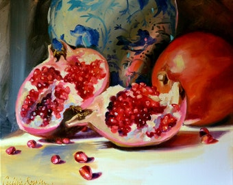 ART print of Still life painting of POMEGRANATES and DELFT, orange and blue, Classic still life, oil on canvas, painting, art