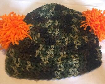 Camouflage Pom Pom Hat, Crocheted Camo Tobaggan with Orange Pom Poms, Newborn Crocheted Camouflaged Photo Prop Pom Pom, Hunter Baby Hat