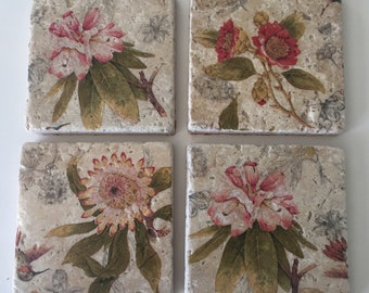 Botanical flower tile coasters