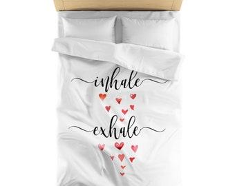 Inhale Exhale, inhake love, exhale love, Duvet Cover, bedroom decor