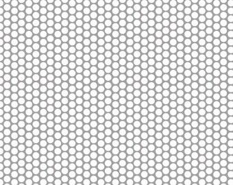 Riley Blake Designs White Honeycomb Dot on Gray