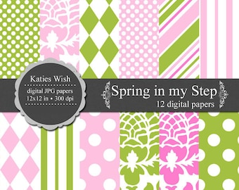 Spring in my Step Digital paper kit 12x12 inch jpg files for Instant Download
