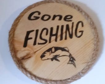 Fishing Sign, Gone Fishing, Primitive Wood Sign, Carved Sign, Wood Sign, Fish Sign, Wood Fish, Carved Fish, Wood Signs