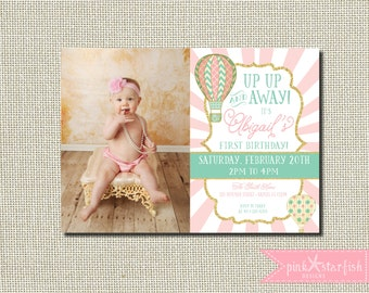 First Birthday Invitation Up Up and Away, Hot Air Balloon First Birthday Invitation, Shabby Chic Invitation, Balloon Invitation, Shabby Chic