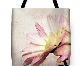 Cottage Chic Distressed Pink Daisy Canvas Tote Bag, Beach Bag, Book Bag, School Bag, Reusable Shopping Bag, Farmer's Market Tote bag