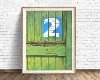 "industrial decor, rustic decor, farmhouse chic, instant download, wall art, printable art, rustic, large art, art print, green -""Door No. 2"""
