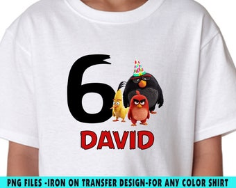 Angry Birds Iron On Transfer , Angry Birds DIY Transfer , Angry Birds DIY Birthday Shirt , Personalize , Any Name , Any Age , Digital Files
