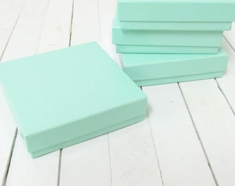 100 - 3 1/2 x 3 1/2 x 1 inch Teal Blue Cotton Filled Jewelry Boxes -small jewelry box,cotton filled box,jewelry packaging,square jewelry box