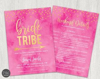 Bride Tribe Bachelorette Party Invitation | Bachelorette Party Itinerary | 5x7 Digital File