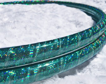 "Mermaid Sparkle Sequin HDPE or POLYPRO Performance Dance & Exercise Hula Hoop -  teal 5/8"" 3/4"""