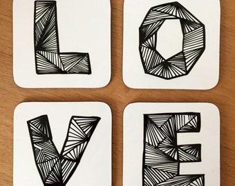 Coasters - 4 Pack - 'LOVE' Geometric Lettering Design
