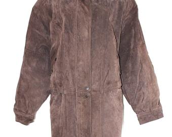 Vintage Brown 100% Real Leather C&A Ladies Women's Parka Coat Jacket Size UK20
