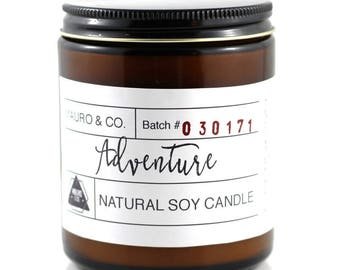 Citrus Peppermint Wood wick Candle 8 oz, Adventure soy wax candle, Scented Candle, Natural Candle Victoria, BC Vancouver Island Canada