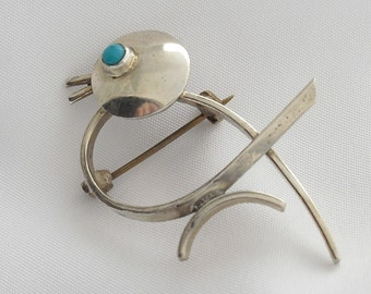 Maricela Mexico Sterling Silver Brooch, 1940s Eagle Assay 3, Signed Maricela Taxco 925