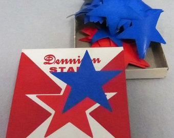 Vintage Dennison Mid Century Large Gummed Red and Blue Stars