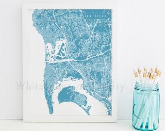 San Diego Map San Diego Art San Diego Map Art San Diego Print San Diego Printable San Diego City Art California Art