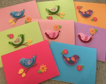 Homemade Bird Notecards