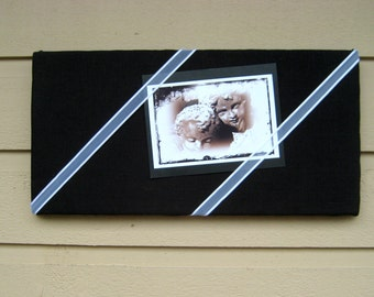 Linen Pin Board, Modern and classic Black Irish Linen Bulletin Board with White organza and satin ribbon for your Photos