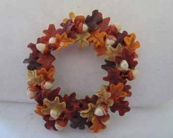 Round Wreath Pin with Fall Leaves and Acorns
