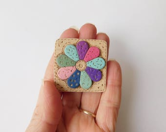 Miniature Quilt Block Magnet, polymer clay refrigerator magnet