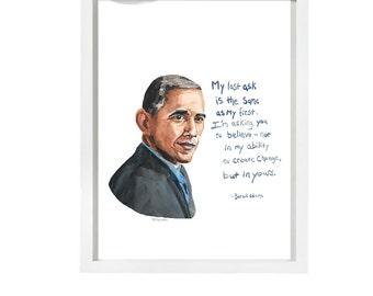Barack Obama Portrait, inspiring Quote, Obama's farewell, Create change