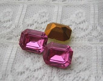 10x8 Swarovski Octagon Rhinestone Rose Pink Quantity 4 rhinestones