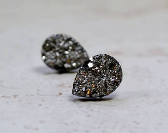 Gray Teardrop Druzy Earrings, 14mm Gunmetal Gray Metallic Glitter Faux Drusy Glittering Stainless Steel Studs