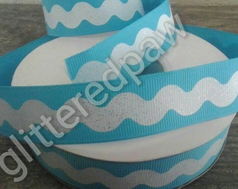 "7/8"" White Ric Rac on Aqua Grosgrain Ribbon"