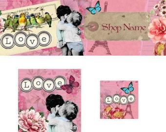 Kissing Kids Etsy Premade Cover Photo Shop Banner Shop Icon Avatar Set Shop Branding