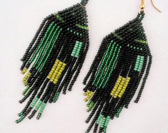 Green seedbead fringe earrings