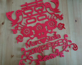 Personalized Double Happiness Chinese Wedding sticker decoration, NAME and DATE + Double Happiness Garland