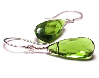 Apple Green Drop Earrings-Sterling Silver Handmade Ear Wires