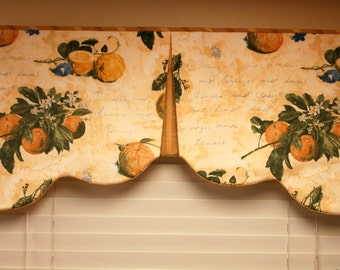 "Custom Window Treatment, RENEE Hidden Rod Pocket® Valance fits 41""- 58"" window,Scalloped valance made with your fabrics, my LABOR and lining"